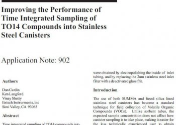Improving the Performance of Time Integrated Sampling of TO14 Compounds into Stainless Steel Canisters