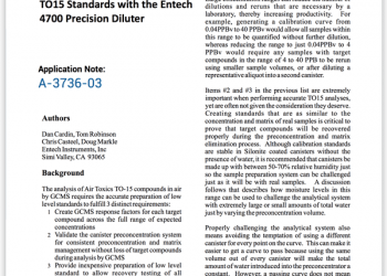 Creating Accurate Low Level TO15 Standards with the Entech 4700 Precision Diluter