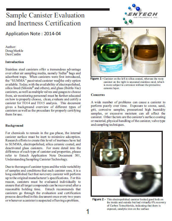 Sample Canister Evaluation and Inertness Certification