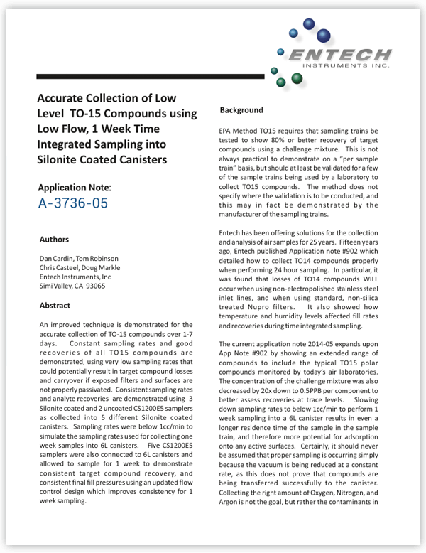 Accurate Collection of Low Level TO-15 Compounds using Low Flow, 1 Week Time Integrated Sampling into Silonite Coated Canisters