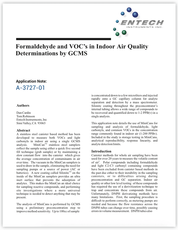 Formaldehyde and VOC's in Indoor Air Quality Determinations by GCMS