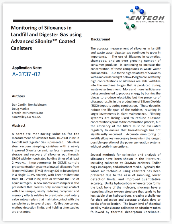 Monitoring of Siloxanes in Landfill and Digester Gas using Advanced Silonite