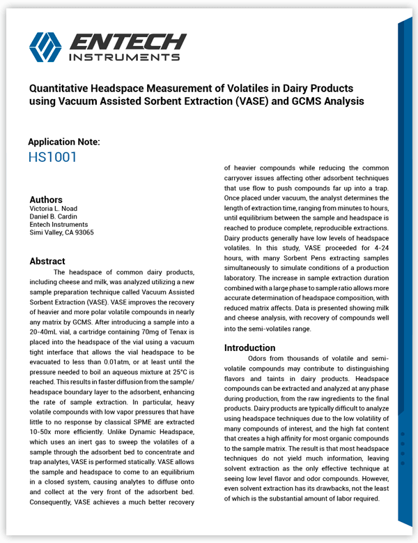 Quantitative Headspace Measurement of Volatiles in Dairy Products using Vacuum Assisted Sorbent Extraction (VASE) and GCMS Analysis Application