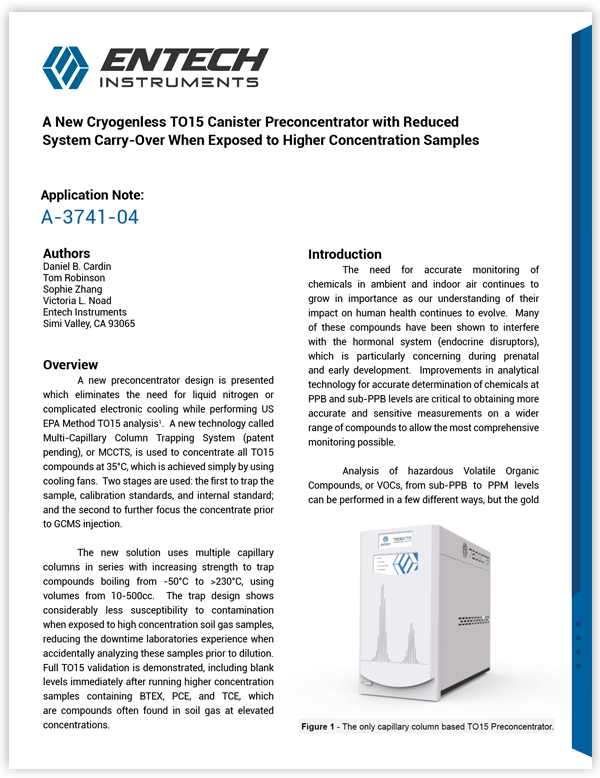 A New Cryogenless TO15 Canister Preconcentrator with Reduced System Carry-Over When Exposed to Higher Concentration Samples