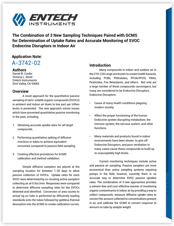 The Combination of 3 New Sampling Techniques Paired with GCMS for Determination of Uptake Rates and Accurate Monitoring of SVOC Endocrine Disruptors in Indoor Air