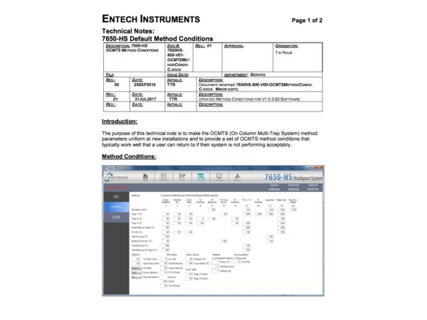 7650HS 800-V01 OCMTS Method Conds