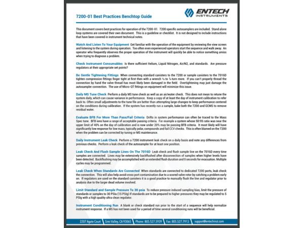 7200-01 Best Practices Checklist